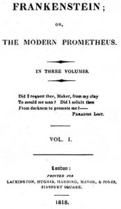 Frankenstein, by Mary Shelley, 1818 edition title page